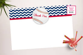 baseball thank you baseball printable thank you notes instant