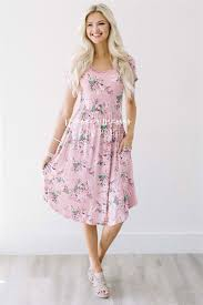 dusty pink cream floral pocket dress best place to buy modest