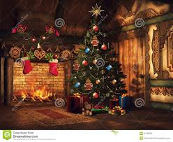 christmas tree gifts and a fireplace stock illustration image
