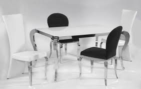 Black And Cream Dining Room - chair cream marble and chrome dining table with u shaped legs