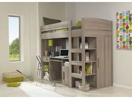 lit en hauteur avec canapé lit mezzanine 90x200 cm montana chêne gris vente de lit enfant