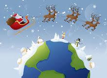 santa sleigh and reindeer flying around the world stock
