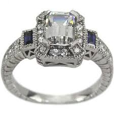 sapphire accent engagement rings dacarli engagement ring in 14k gold set with an emerald cut