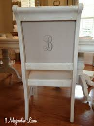 White Chalk Painted Dining Room Table  Monogrammed Chairs - Painting a dining room table