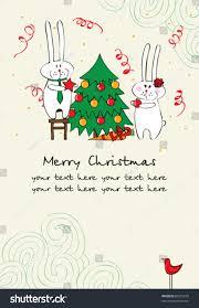 cute christmas card bunnies stock vector 86210278 shutterstock