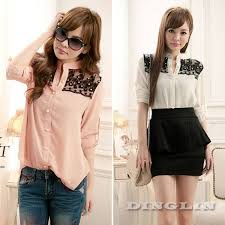 s fitted blouses fashion clothing sheer lace chiffon button slim