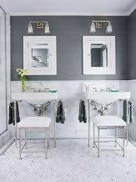 bhg chic bathroom design with steel gray walls paint color white
