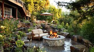 alderwood landscaping sloped backyard patio garden firepit rend
