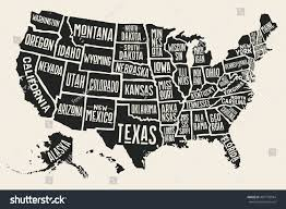 United States Map Black And White by Poster Map United States America State Stock Vector 481739944