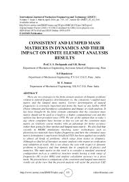 consistent and lumped mass matrices in dynamics and their impact on f u2026