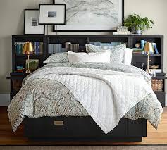 Platform Bed Skirt - gray brushstrokes abstract framed print pottery barn