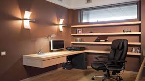 spacious home office interior design with brown wall paint and l