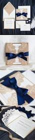 elegant rose gold and navy blue glitter wedding invitations with
