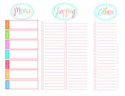 printable menu planner template a feathered nest grocery list shopping list