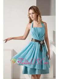 aqua blue a line halter knee length bridesmaid dress taffeta ruch
