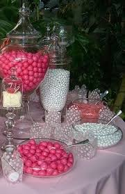 Pink And White Candy Buffet by Pink Tulle Bags Filled With M U0026m Candies Make Great Wedding Favors