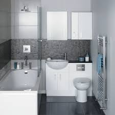 gray and white bathroom design with rectangle tub and glass mosaic