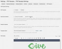 pdf receipts for give wordpress donations plugin