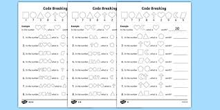 value code breaking activity sheet pack worksheet