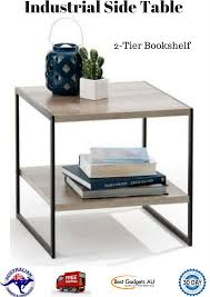industrial side table lamp 2 tier bookshelf storage home end mag