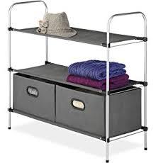 amazon com whitmor 4 tier closet shelves silver black home