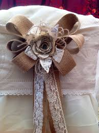 12 hessian bows pew ends chair backs lace paper