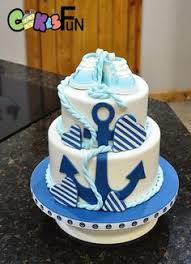 baby shower anchor theme 3 tier navy and teal nautical cake by babeecakesboutique