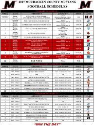 mustang football schedule mccracken county schedule