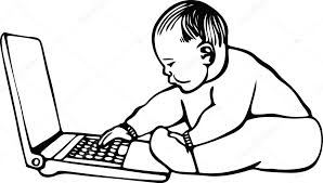 drawing of a baby on a laptop u2014 stock vector prawny 64292263