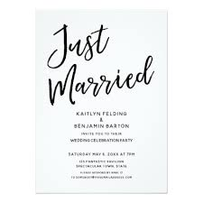wedding reception card just married casual modern wedding reception card modern gifts