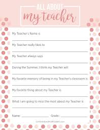 Questionnaire For Home Design by All About My Teacher Questionnaire Printables By Tealolivedesigns