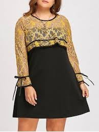 yellow 5xl long sleeve plus size lace color block dress rosegal com