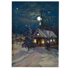 lighted canvas art with timer amazon com ohio wholesale snowy church canvas with timer radiance