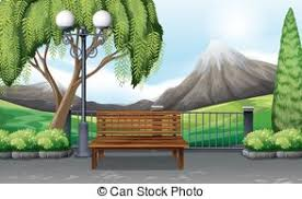 Park Bench Scene Vector Clipart Of Scene Of Public Park With Bench And Lamps