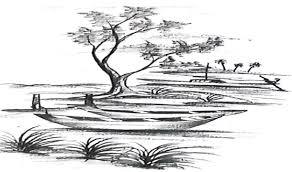 how to draw a scenery indian river side landscape pencil