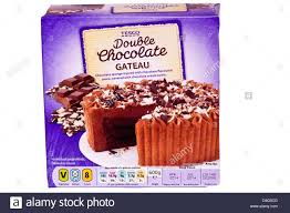 box of tesco double chocolate gateau cake stock photo royalty