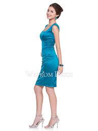 zipper natural square light sky blue taffeta a line wedding guest