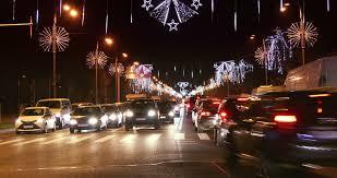 bucharest romania december 2015 night traffic with car pass