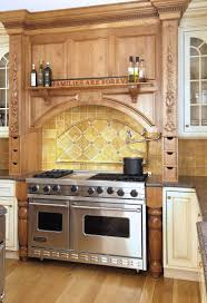 kitchen brown wooden kitchen cabinet with stove and metal carved