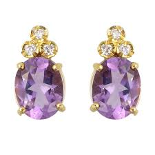 diamond stud earrings uk 9ct yellow gold oval amethyst diamond stud earrings gemstone