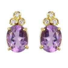 gold stud earrings uk 9ct yellow gold oval amethyst diamond stud earrings gemstone