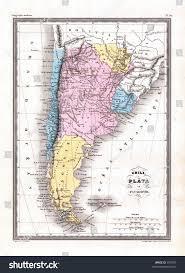 Patagonia Map Antique 1870 Map Argentina Chile Patagonia Stock Illustration