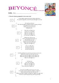 Turn Out The Lights Song Worksheet Xo By Beyonce