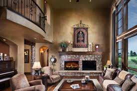 captivating brown leather sofa and square table near fireplace for