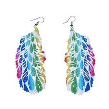 peacock feather earrings s laser cut peacock feather earrings printed alloy free uk p p