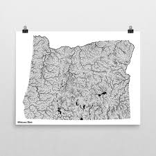 Oregon Lakes Map by Oregon Our Water River Map Print Wilderness Made