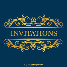 blue invitation with yellow ornaments vector free