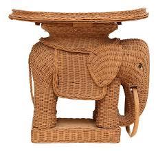 vintage rattan wicker elephant side table chairish
