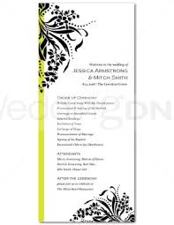 one page wedding program template printable bouquet flourish program template