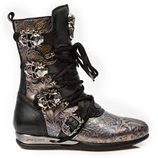 mens buckle biker boots black blue u0026 gold leather hybrid boots w skull buckles may take up